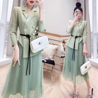 Rosewind - Set: Double-Breasted Blazer + Midi A-Line Skirt