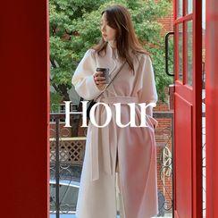 UPTOWNHOLIC(アップタウンホリック) - Open-Front Wool Long Coat with Sash