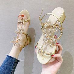 Jakaranda - Rhinestone Embellished Block-Heel Sandals