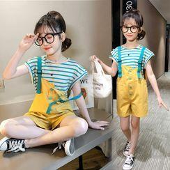 Qin Qin - Kids Set: Cap-Sleeve Striped T-Shirt + Wide-Leg Jumper Shorts