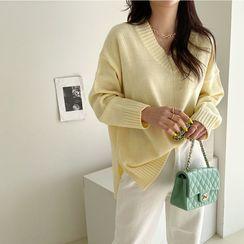 NANING9 - V-Neck Pastel Color Sweater