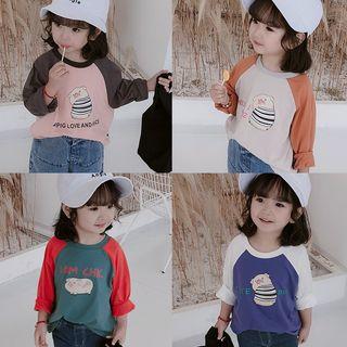 Ruban - Kids Printed Color Block Long-Sleeve T-Shirt