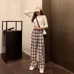 Guromo - Cropped Cardigan / Plaid Wide-Leg Pants