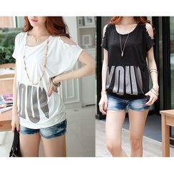 Smooch - Cutout Shoulder Short-Sleeve T-Shirt