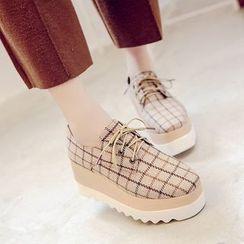 Mowin - Platform Plaid Lace-Up Shoes