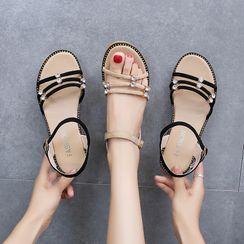 Moonlit Valley - Rhinestone Strappy Wedge Sandals
