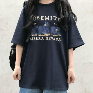 Sharis - Short-Sleeve Embroidered Bear T-Shirt