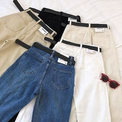 DIYI - Plain High-Waist Harem Jeans With Belt