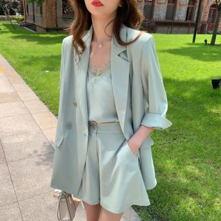 Hypasha - Set: Elbow-Sleeve Blazer + Lace Trim Camisole Top + Shorts