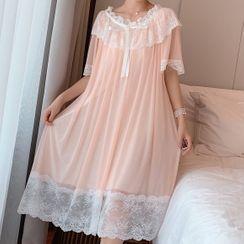 Almilo - Short-Sleeve Lace Trim Midi Sleep Dress