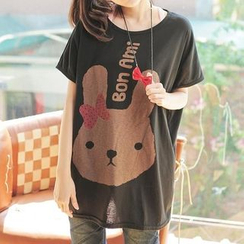 JVL - Rabbit Print Loose-Fit Long T-Shirt