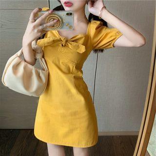 Pipto - Puff-Sleeve Twisted Mini Dress