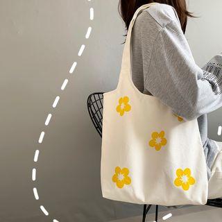 Basaran - Flower Print Canvas Tote Bag