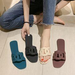 Chic Kingdom - Plain Flat Slide Sandals