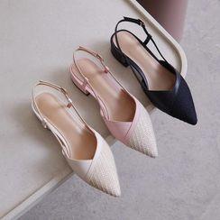 Comof - Pointed Low-Heel Slingback Sandals