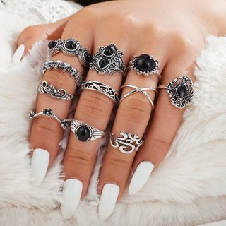 Yongge - Set of 11: Retro Alloy Rings (Assorted Designs)