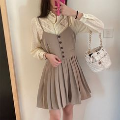 Vanci - Plain Blazer / Lace-Trim Blouse / Pleated Mini A-Line Overall Dress