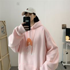 Ink Brush - Couple Matching Print Loose-Fit Hoodie
