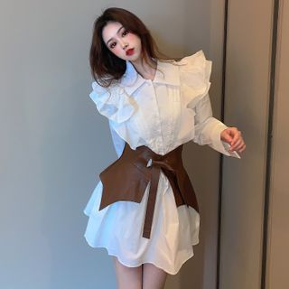 NENE - Ruffle Long-Sleeve Mini Collared Dress / Faux Leather Belt
