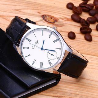 Cronos - Roman Numeral Faux Leather Strap Watch