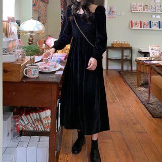 Howavo - Long-Sleeve Midi A-Line Velvet Dress