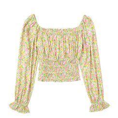 JIN STUDIOS - Bell-Sleeve Floral Print Blouse