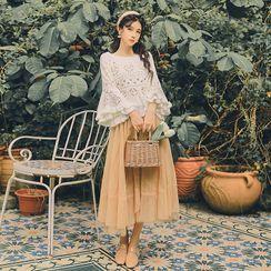 Nebbia - Set: Pointelle Knit Sweater + Midi A-Line Skirt