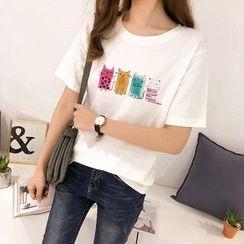 Carmenta - Cat Print Short-Sleeve T-Shirt