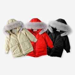 Happy Go Lucky - Kids Furry Hooded Padded Zip Jacket