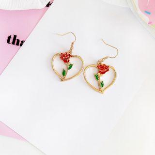 Teeny Trendy - Heart-Shaped Rose Hook Earrings