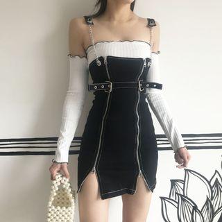 Ohnana - Long-Sleeve Off-Shoulder Top / Zip-Up Mini Pinafore Dress