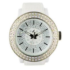 t. watch - 白色矽膠錶帶玻璃鑽石防水面錶