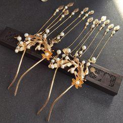 YUGO - Traditional Chinese Faux Pearl Fringe Hair Stick / Set