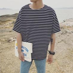 CooLook - Camiseta de manga corta de rayas