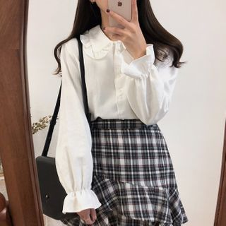 WIKPROM - Ruffled Bell-Sleeve Blouse