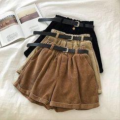 DIYI - Plain Roll-Up High-Waist Corduroy Shorts With Belt