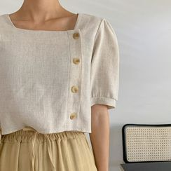 MERONGSHOP - Square-Neck Puff-Sleeve Cropped Blouse