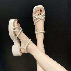 Anjay(アンジェイ) - Ankle-Strap Platform Chunky-Heel Sandals