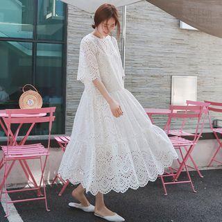 Hiccup - Maternity Set: Short-Sleeve Lace Midi A-Line Dress + Slip Dress