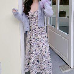 Dinse - Floral Print Spaghetti-Strap A-Line Dress / Cropped Knit Cardigan