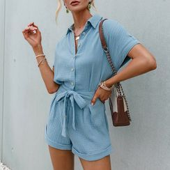 Simplee - 短袖腰结带连衣短裤