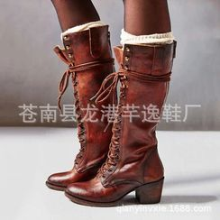Tania - Faux Leather Chunky Heel Lace-Up Short Boots