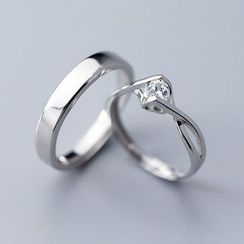 A'ROCH(エーロック) - Set: Couple Matching Polished / Rhinestone Open Ring