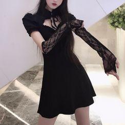 Yvoire - Set: Short-Sleeve A-Line Dress + Lace Arm Sleeve