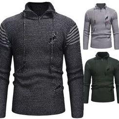 Hansel(ハンセル) - Stand Collar Ripped Sweater