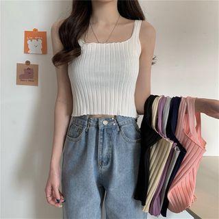 OGAWA - Square Neck Plain Ribbed Knit Camisole