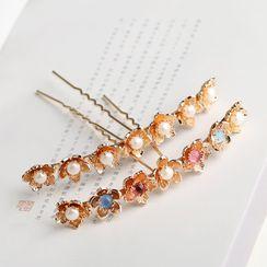 Kanzashi(カンザシ) - Faux Pearl Flower Hair Stick