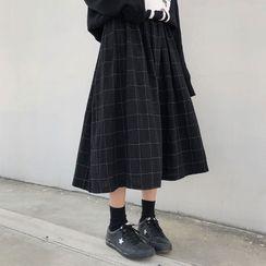monroll - Plaid Midi A-Line Skirt