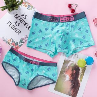 Pancherry - Couple Matching Set: Cactus Print Panties + Boxer Briefs