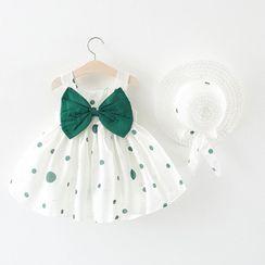Mini Bae - 兒童套裝: 無袖圓點蝴蝶結A字連衣裙 + 太陽帽